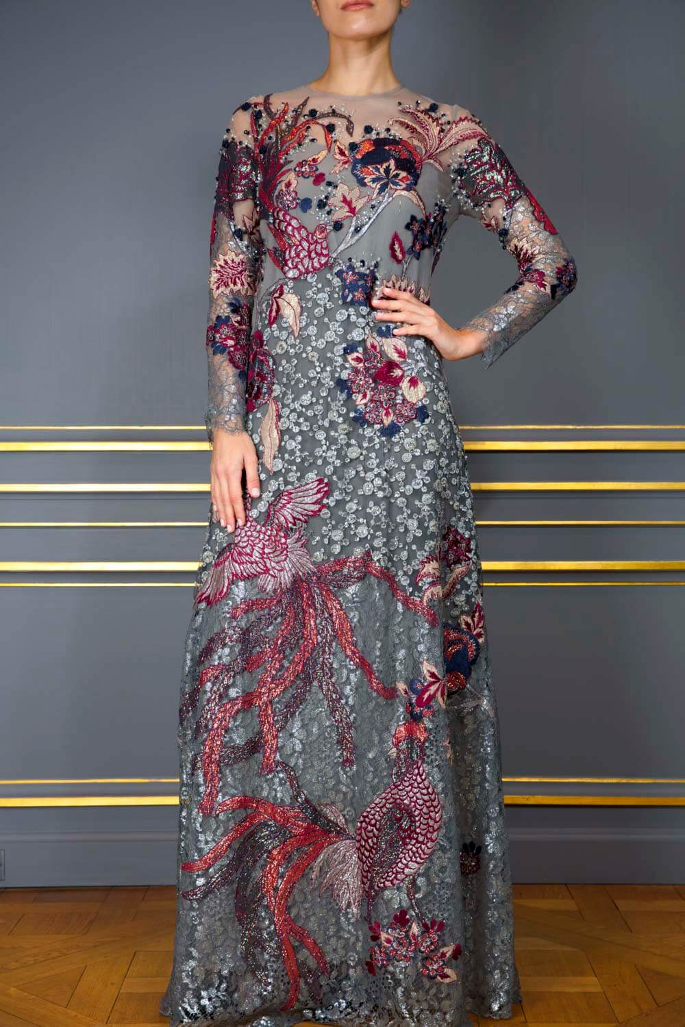 Smoke grey Bird of Paradise embroidered and hand-beaded evening gown