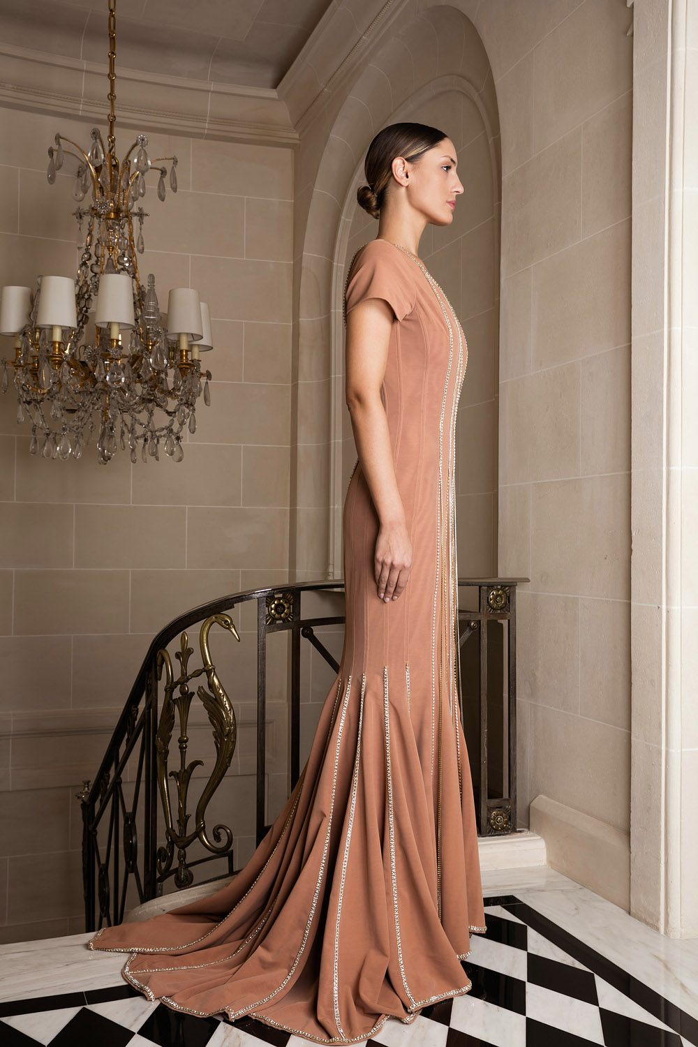 Exclusive beige mermaid gown