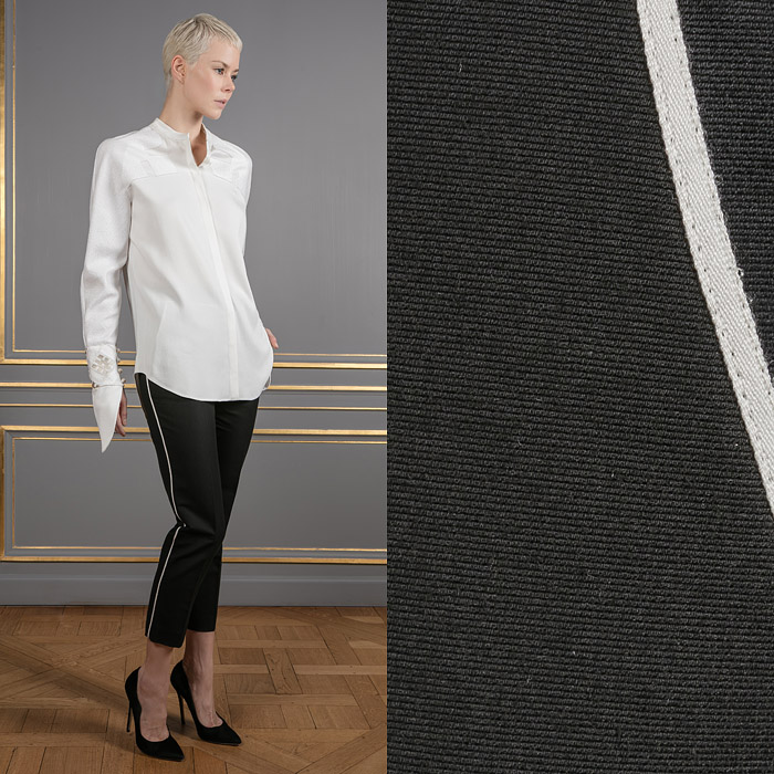 Black pants with white line details