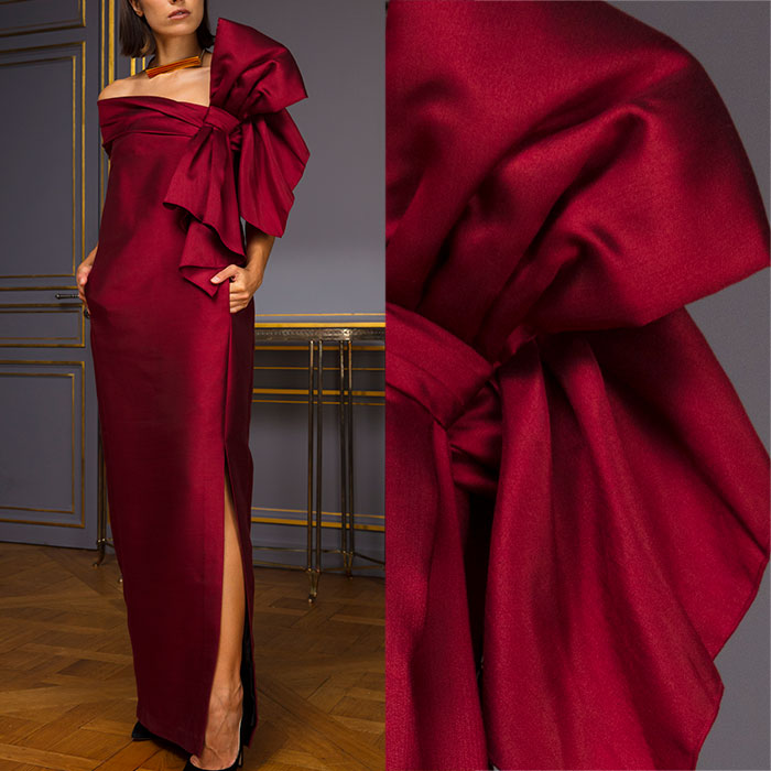 Burgundy silk column evening gown