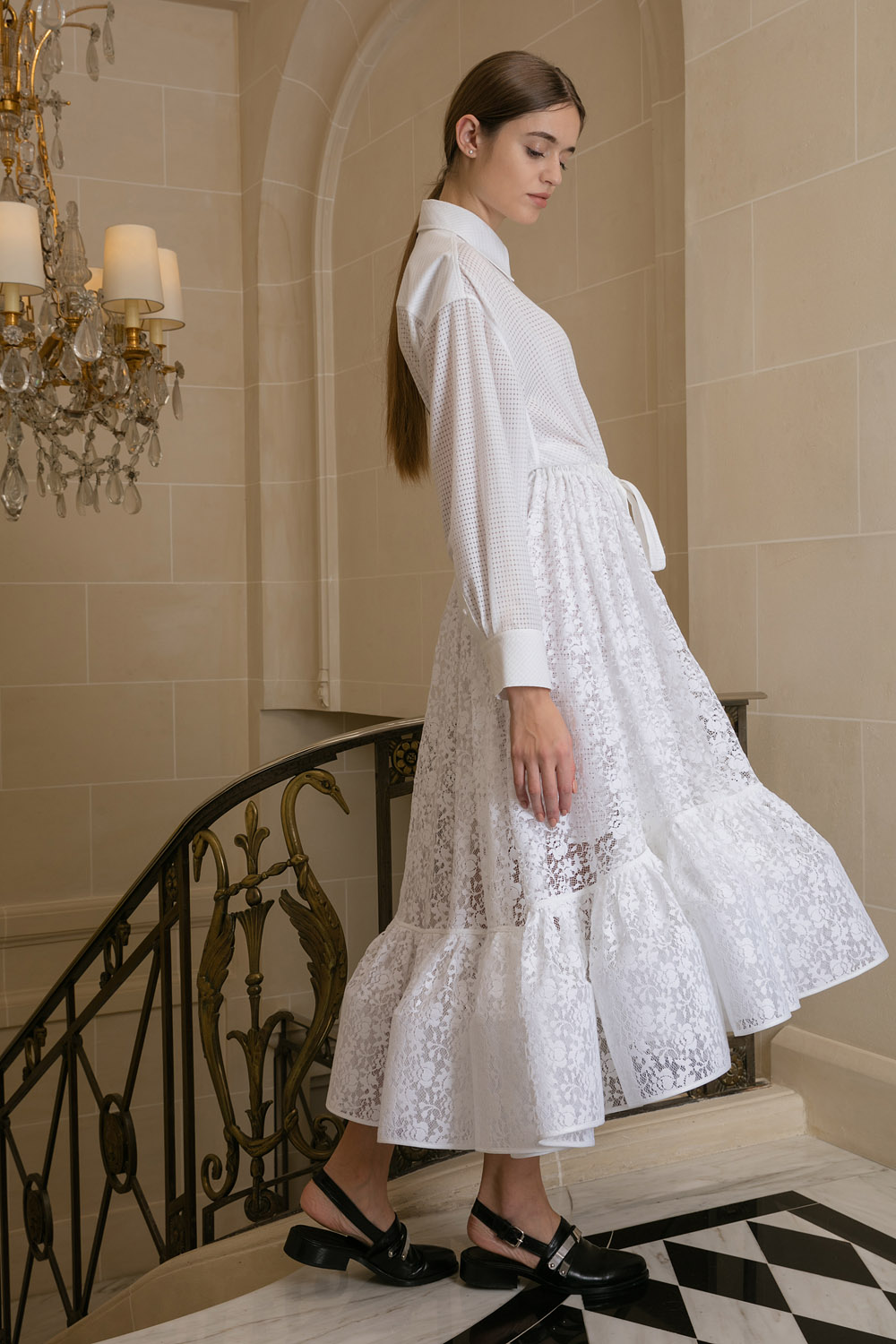 Boutiquelessuites Com Lessuitesonline Buy Lena Lumelsky White Fit To Flare Lace Dress On Our Website