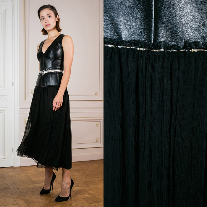 Midi dress with a tight leather top and a loose tulle skirt