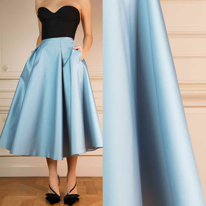 Saffron-yellow pleated midi skirt in Duchesse satin