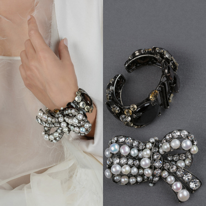 Evening pearl bow cuff