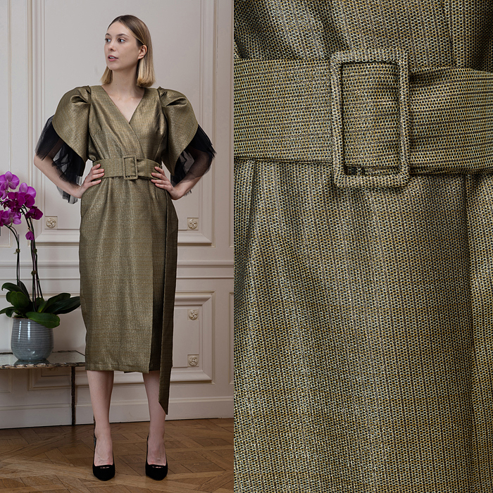 Bronze wrap dress with exaggerated shoulders