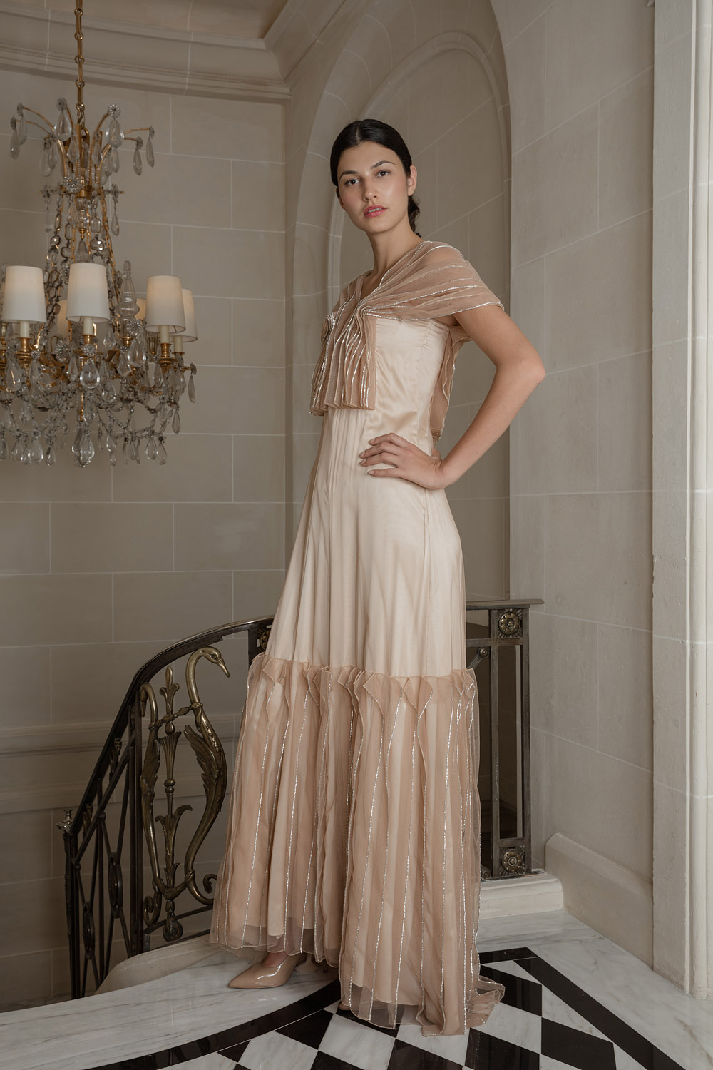 Exclusive pink sheath gown